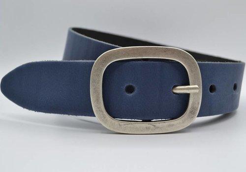 Scotts Bluf 4cm blauwe split lederen riem.
