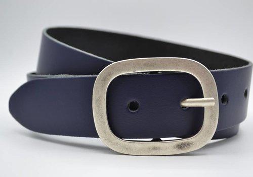 Scotts Bluf 4cm donker blauwe split lederen riem.