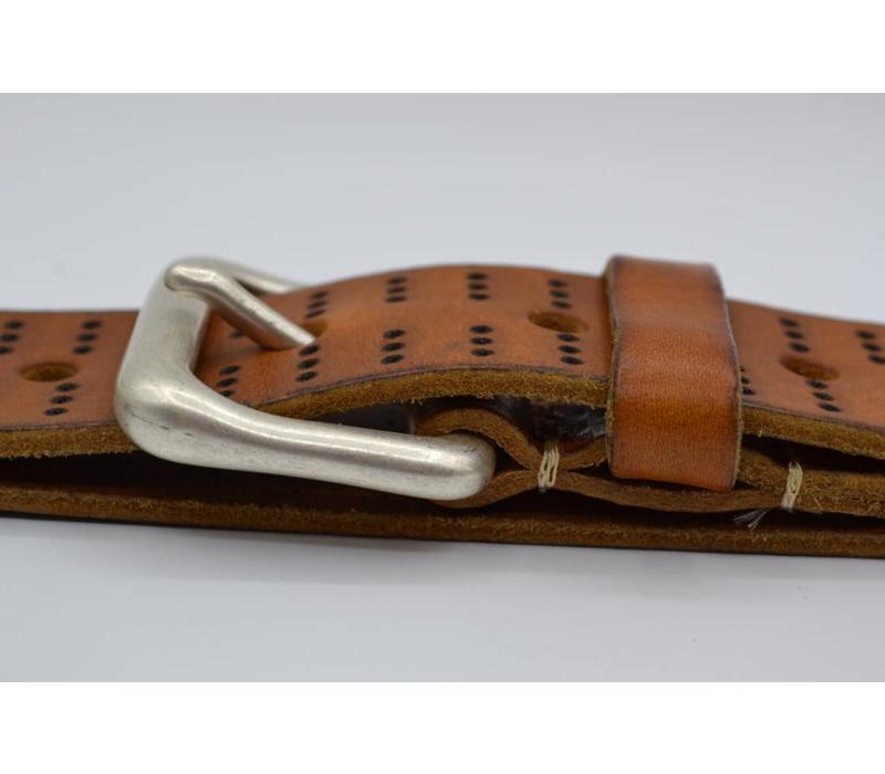 4cm brede vintage riem van Italiaans gewassen leder.