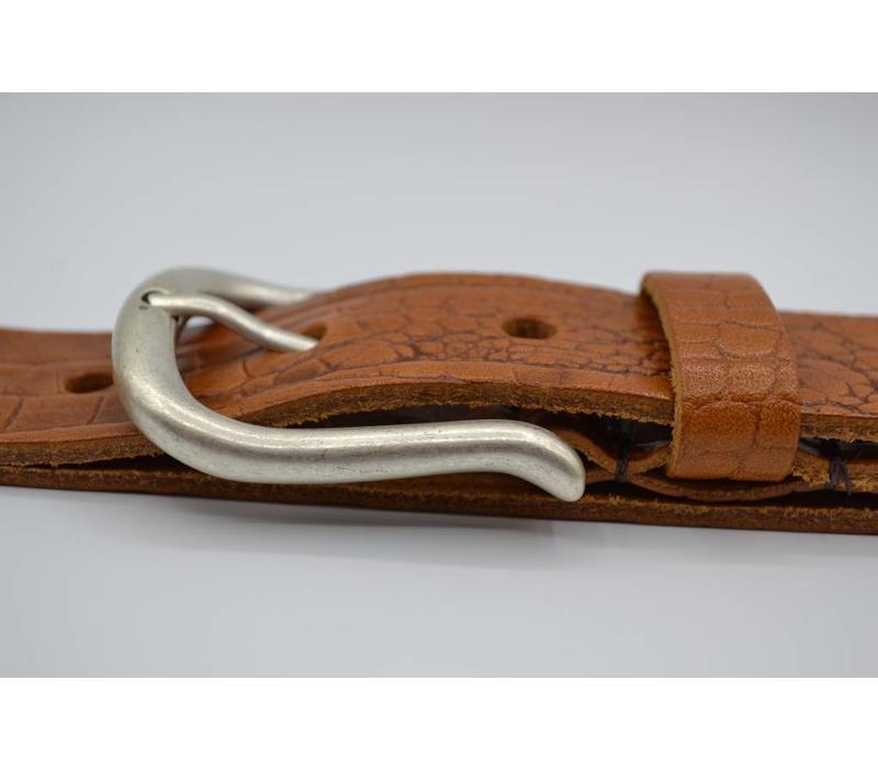 4cm Italiaans volnerf lederen riem met kroko print en fijne afgeronde oud zilveren gesp