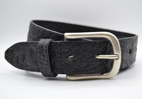Scotts Bluf 4cm croco zwart italiaans volnerf lederen casual riem