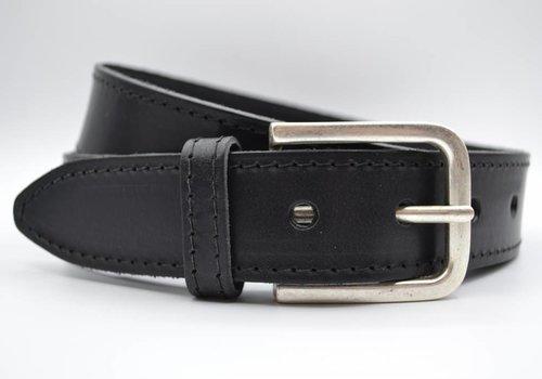 Scotts Bluf 4cm zwarte gestikt italiaans volnerf lederen riem
