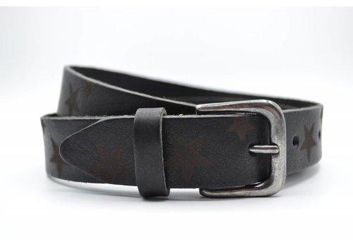 Scotts Bluf 3cm zwarte kinder riem met sterprint