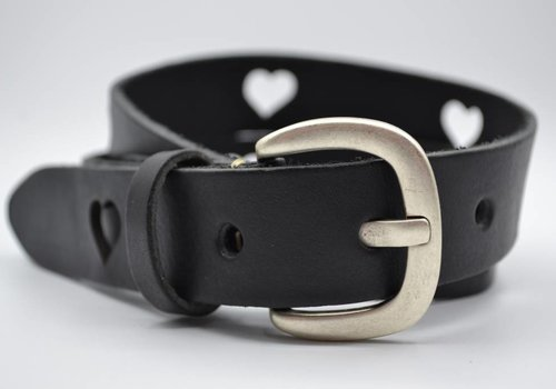 Scotts Bluf 3cm zwarte kinder riem met hartjes