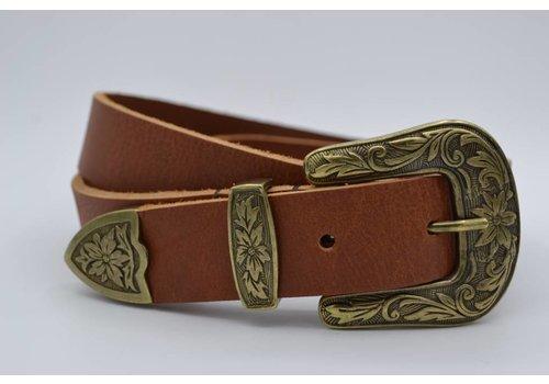 Scotts Bluf 3cm Cognac western riem met bronzen gesp