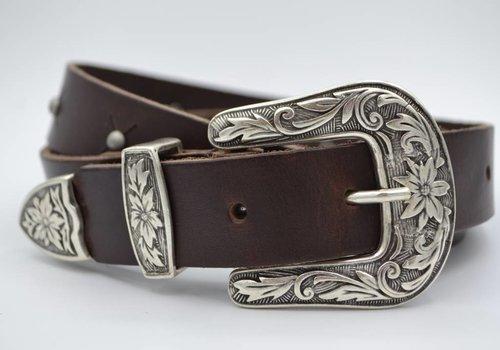 Scotts Bluf 3cm bruine western stud riem met oud zilveren gesp