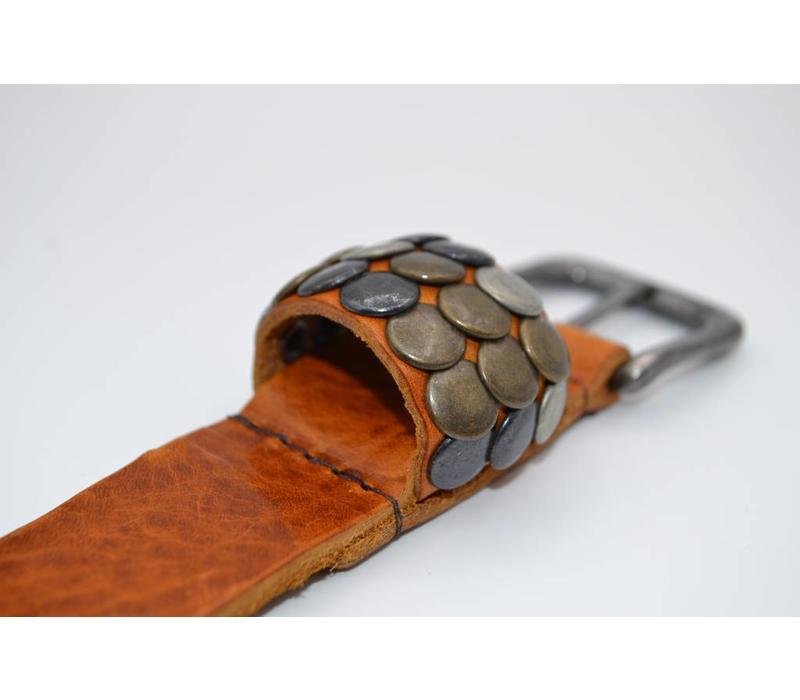 Stoere 3cm kinder riem met verschillende studs voorzien van een oud nikkele gesp  - Copy