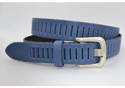 Scotts Bluf split lederen 30mm blauwe casual perforatie riem