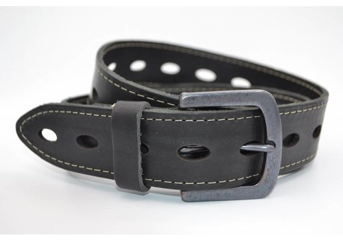Bullock gelaserde zwarte echt lederen riem met ovale gaten
