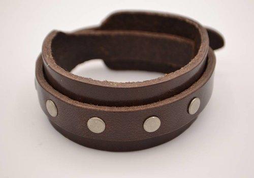 Scotts Bluf Bruine heren Armband Dubbel met studs