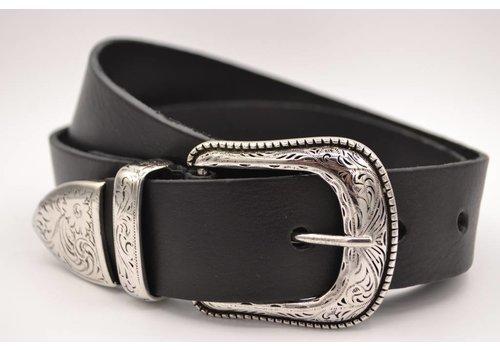 Scotts Bluf 4cm western zwarte volnerf lederen riem