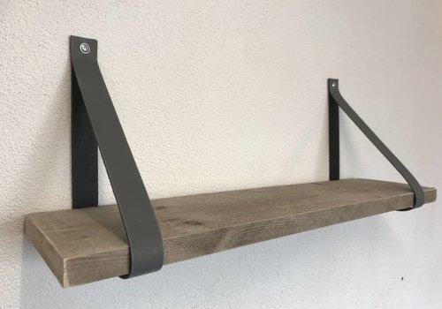 Scotts Bluf Leren Plankdragers licht grijs inclusief plank