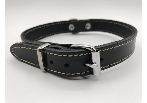 Scotts Bluf Hondenhalsband 35cm zwart echt Italiaans leer