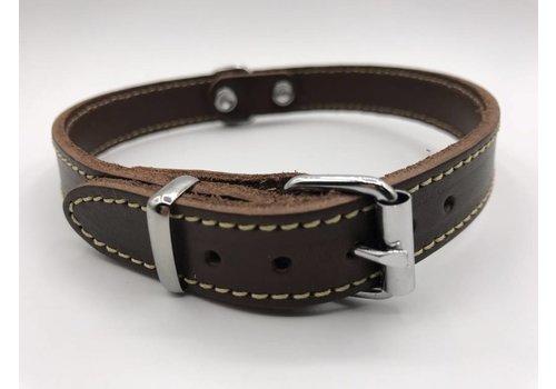 Scotts Bluf Hondenhalsband 30cm bruin echt Italiaans leer