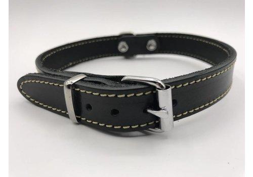 Scotts Bluf Hondenhalsband 30cm zwart echt Italiaans leer
