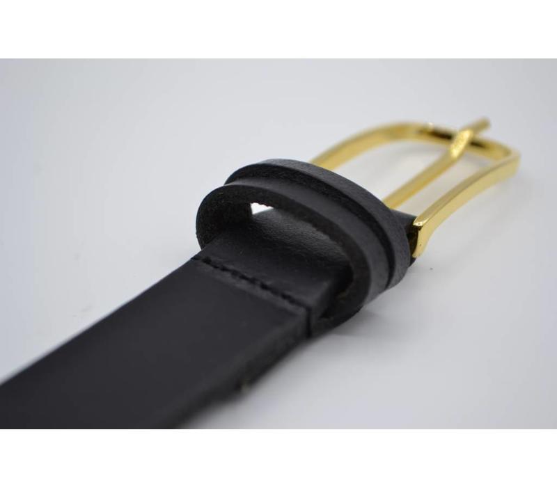 Smalle damesriem uitgevoerd in het zwart met geklede gouden gesp en dubbele lus