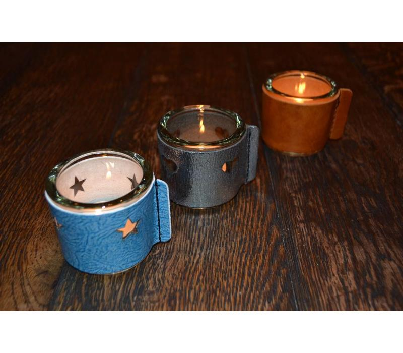 Kaarsenhouder voor theelicht met glas en grijs leer