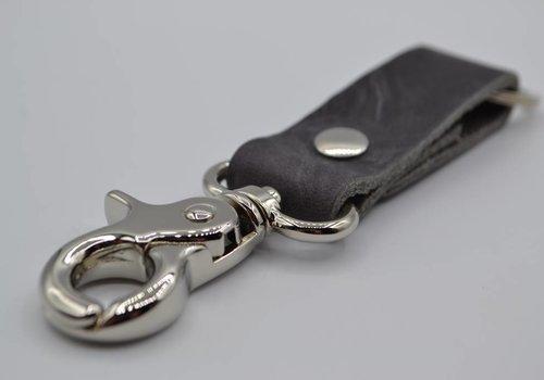 Scotts Bluf Moderne grijze sleutelhanger met naam of logo