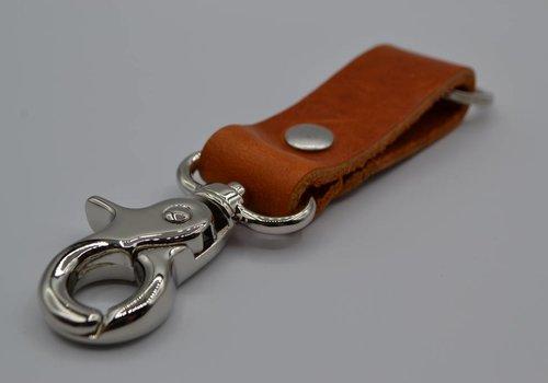 Scotts Bluf Moderne cognac sleutelhanger met naam of logo