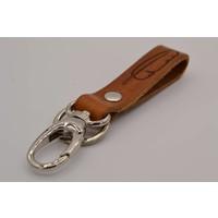 Deze bruine moderne sleutelhanger is te personaliseren met 30 karakters of een logo.