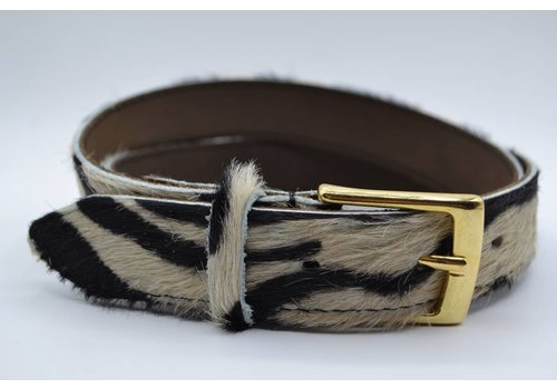 Scotts Bluf 3cm brede zebraprintriem met gouden gesp