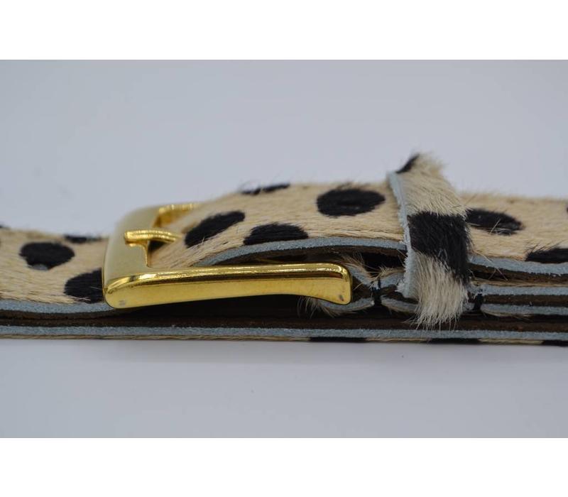 Leuke 3cm brede riem van koehuid met een panterprint