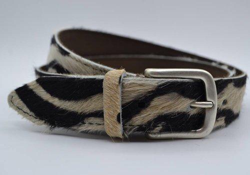 Scotts Bluf 3cm brede zebraprintriem met oud zilveren gesp