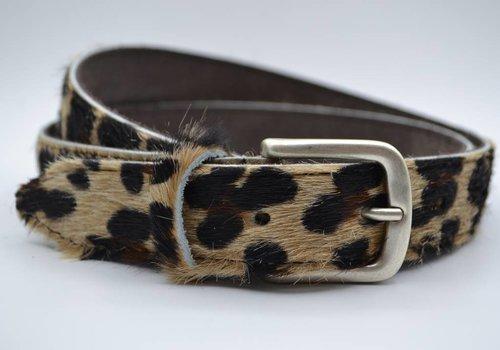 Scotts Bluf 3cm brede luipaard printriem met oud zilveren gesp