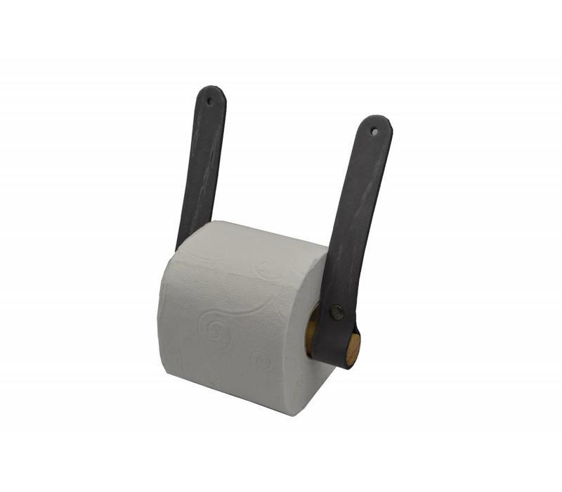Trendy toiletrolhouder van leer en hout