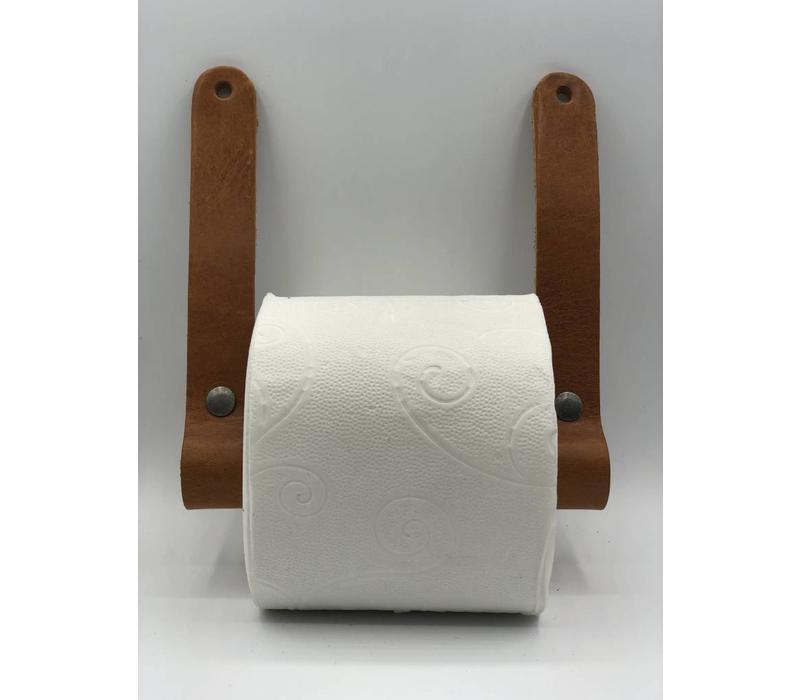 Luxe toiletrolhouder van Italiaans volnerf leer en hout