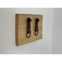 Superleuk sleutelplankjes van douglas hout met 2 echt lederen sleutelhangers