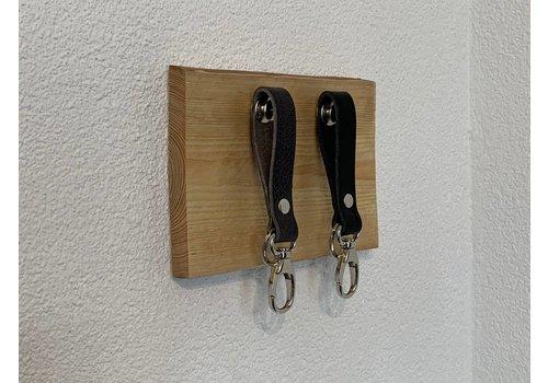 Scotts Bluf Sleutelplankjes van hout inclusief 2 moderne sleutelhangers van echt leer