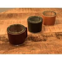 Zelf samen te stellen set van 3 waxinelichthouders van glas met leer