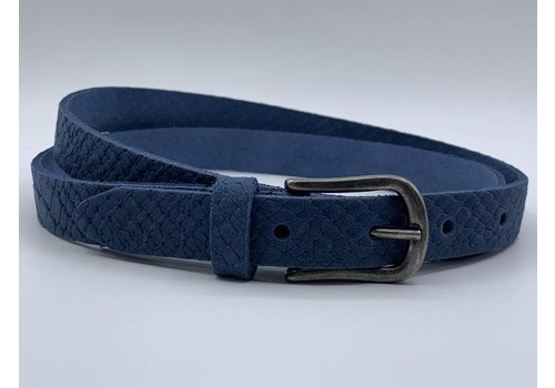 Scotts Bluf 2cm brede damesriem met blauwe slangenprint