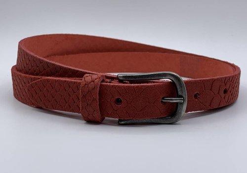 Scotts Bluf 2cm brede damesriem met rode slangenprint