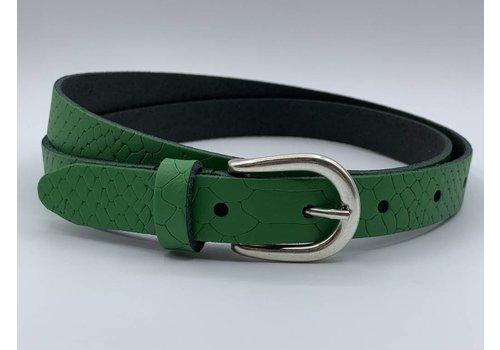 Scotts Bluf smalle groene damesriem met slangen print