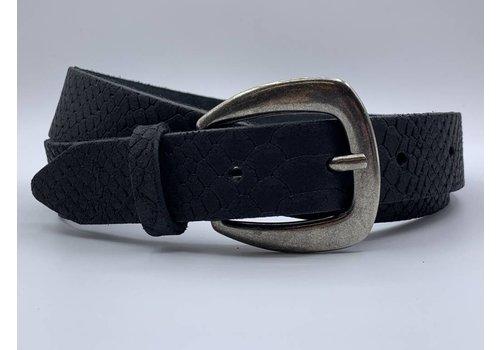 Scotts Bluf 3cm brede zwarte damesriem met slangenprint