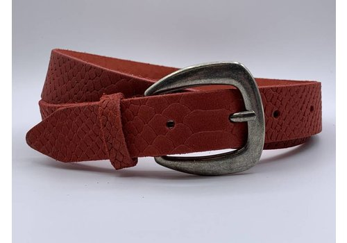 Scotts Bluf 3cm brede rode damesriem met slangenprint