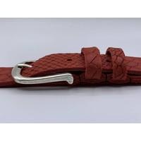 Trendy damesriem gemaakt van splitleer met slangenprint en oud zilveren gesp