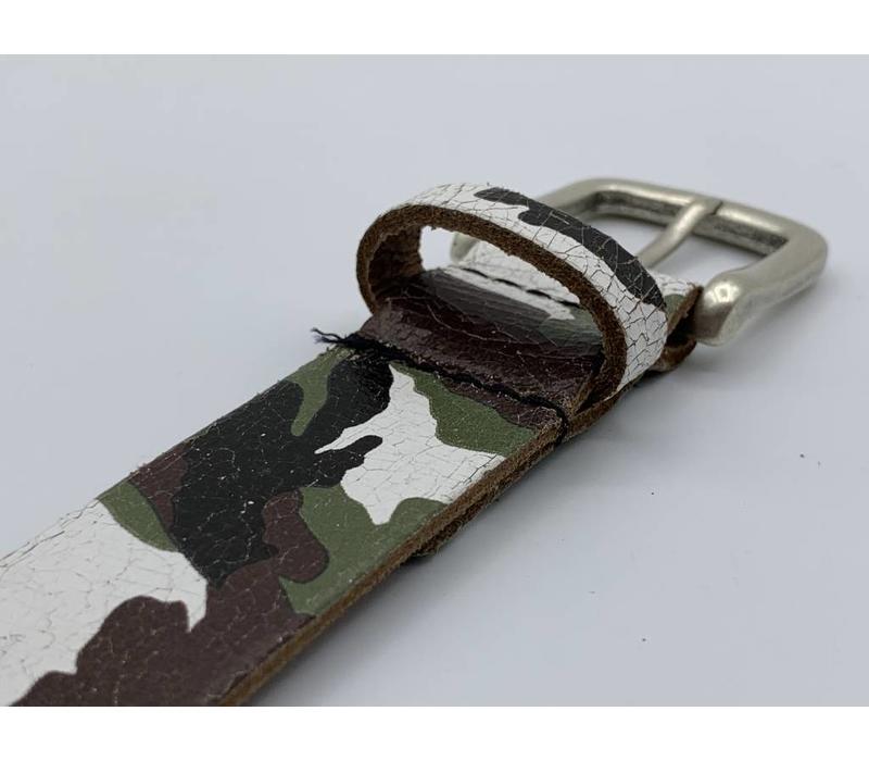 30mm brede camouflage echt lederen kinderriem. Leuke basisriem en natuurlijk geheel nikkelvrij.