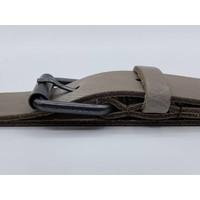 3cm brede taupe echt lederen kinderriem. Stoere basisriem met zwarte rol gesp en natuurlijk geheel nikkelvrij.