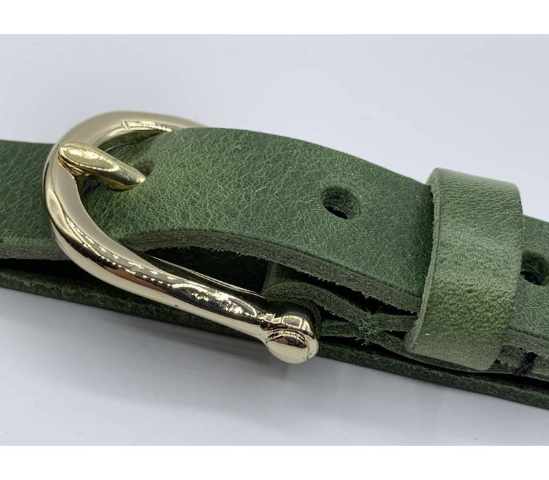 2cm brede moderne groen damesriem met fraai vormgegeven gouden gesp