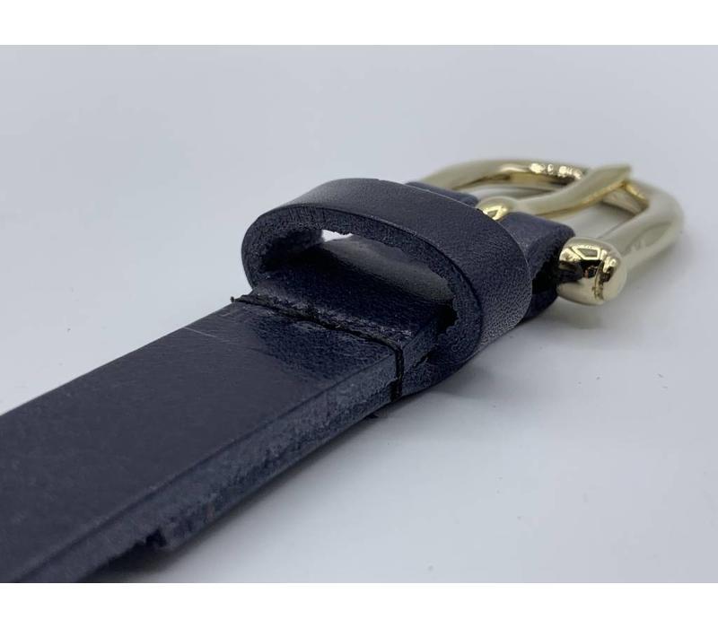 2cm brede moderne blauwe damesriem met fraai vormgegeven gouden gesp