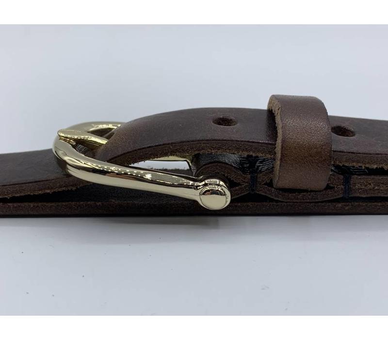 2cm brede moderne bruine damesriem met fraai vormgegeven gouden gesp