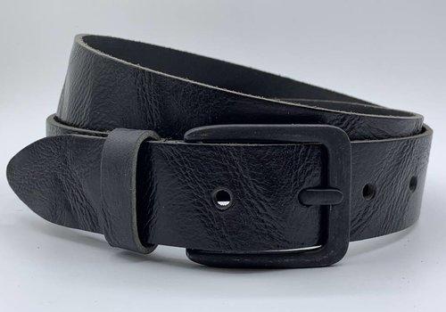 Scotts Bluf Stoere zwarte riem met gekreukt leer en mat zwarte gesp