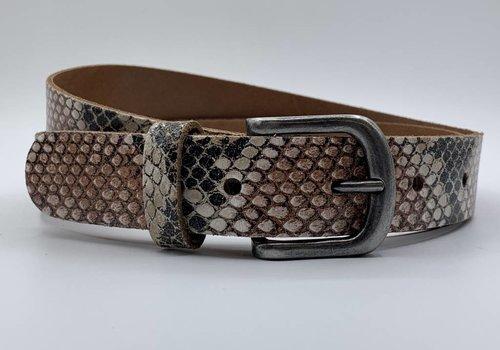 Scotts Bluf Python print riem met oud nikkele gesp