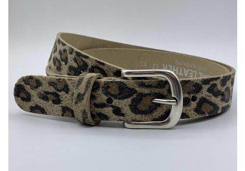 Scotts Bluf Luipaard print riem met oud zilveren gesp