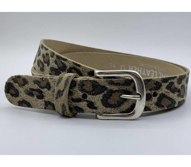 Leuke 3cm brede riem van luipaard print leer.