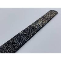 2cm smalle damesriem van zwart echt leer, zwarte gesp en leuke roggenprint
