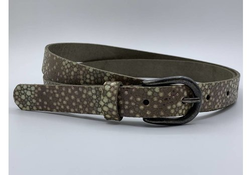 Rock 'n Rich Damesriem van 2cm breed en speelse taupe rogge print.